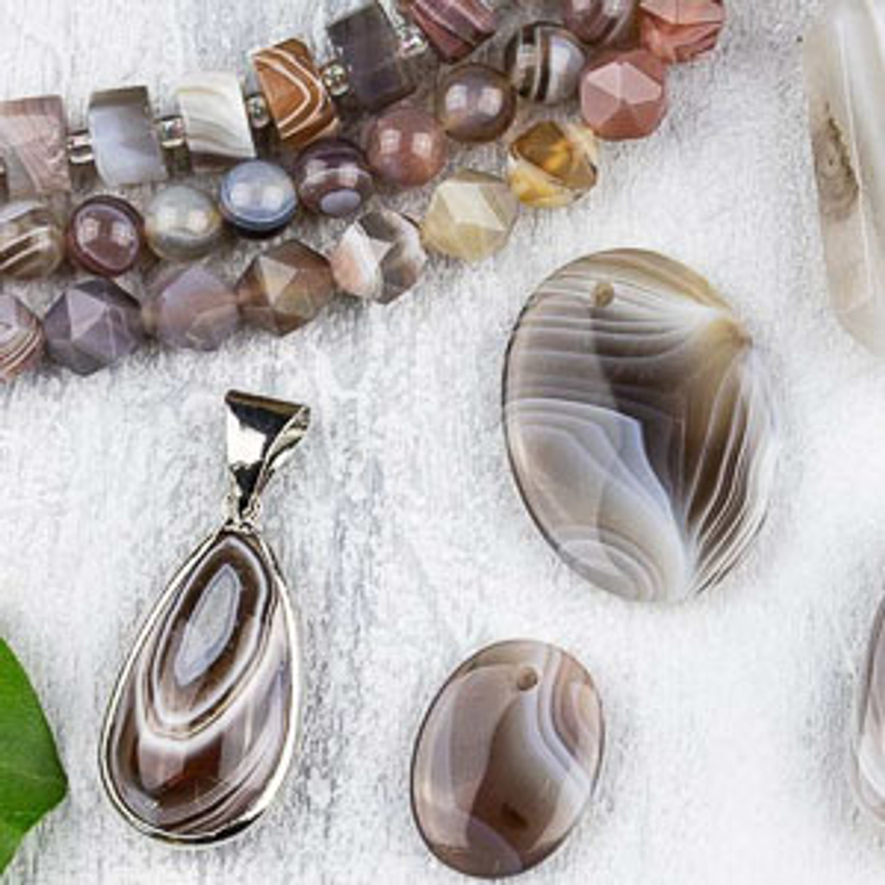 Jade Beds Crystal Beads Botswana Agate Pendant Pastel Pink  Mint Green Milk Quartz  Multi-Strand w Matching Earrings