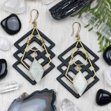 Moonstone, Wood, and Brass Earrings