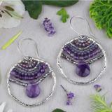 Amethyst and Crystal Teardrop Earrings