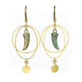 Green Bronze Horn and Brass Hoop Earrings