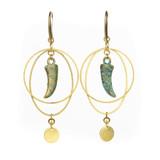 Green Bronze Horn and Brass Hoop Earrings