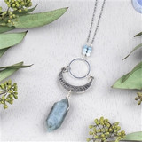 Aquamarine Moon Phase Necklace