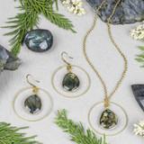 Labradorite and Brass Hoop Jewelry