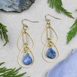 Brass and Kyanite Earrings