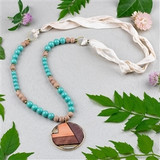 Mosaic Wood Pendant Necklace