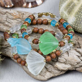 Glass Shell Stacking Bracelets