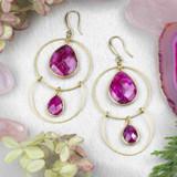 Ruby and Brass Hoop Earrings