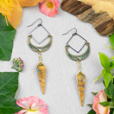 Crazy Lace Agate and Brass Earrings
