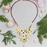 Pink Tourmaline and Brass Dangle Necklace