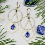 Sapphire & Brass Earrings