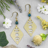 Brass Moon Phase Earrings