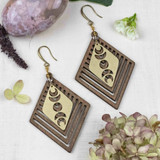 Brass and Wood Moon Phase Earrings