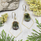 Green Garnet and Brass Earrings
