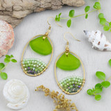 Sea Glass and Crystal Earrings