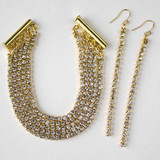 Rhinestone Cup Chain Bracelet and Earrings