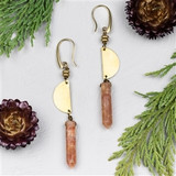 Sunstone Point Brass Earrings