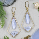 Blue Lace Agate and Brass Earrings