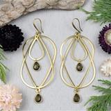 Smoky Quartz and Brass Teardrop Earrings