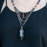 Chunky Black Labradorite Double Point Necklace