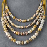 Faceted Large Hole Crazy Lace Agate Necklace