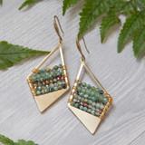 Brass Kite & Tiny Gemstone Earrings