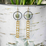 Brass Moon Phase Kyanite Earrings