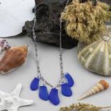 Royal Blue Sea Glass Pebble Necklace