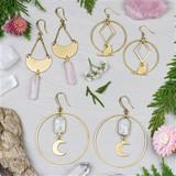 Moon & Cat Brass Earrings