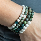 Aromatherapy Green and White Stacking Bracelets