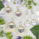 Gemstone Semi Circle Earrings
