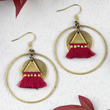 Jester Red Tassel and Brass Earrings