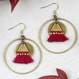 Jester Red Tassel and Brass Earrings