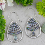 Labradorite and Crystal Teardrop Earrings