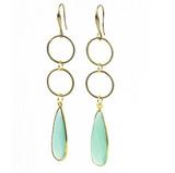 Brass and Aqua Chalcedony Earrings