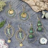 Green Bronze and Brass Earrings