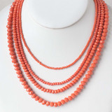 Coral Orange Four Strand Crystal Necklace