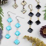 Gemstone Diagonally Drilled Square Drop Earrings