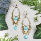 Turquoise Howlite Teardrop Earrings