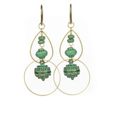 Green Bronze Baubles and Brass Hoop Earrings