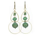 Green Bronze Baubles and Brass Hoop Earrings