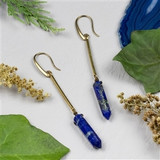 Lapis Point Brass Earrings