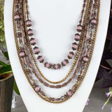Vintage Copper Pewter 5-Strand Necklace