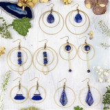 Lapis and Brass Component Earrings