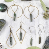 Labradorite Point Brass Earrings