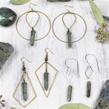 Labradorite Point Brass Earrings