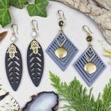 Wood, Gemstone, and Brass Earrings