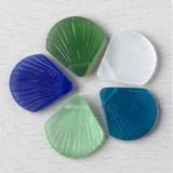 Sea Glass Style Scallop Shell Pendants