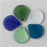 Matte Glass Scallop Shell Pendants
