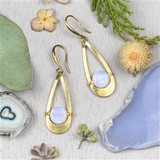 Opaline and Brass Earrings