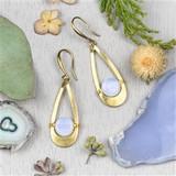 Opaline and Brass Earrings